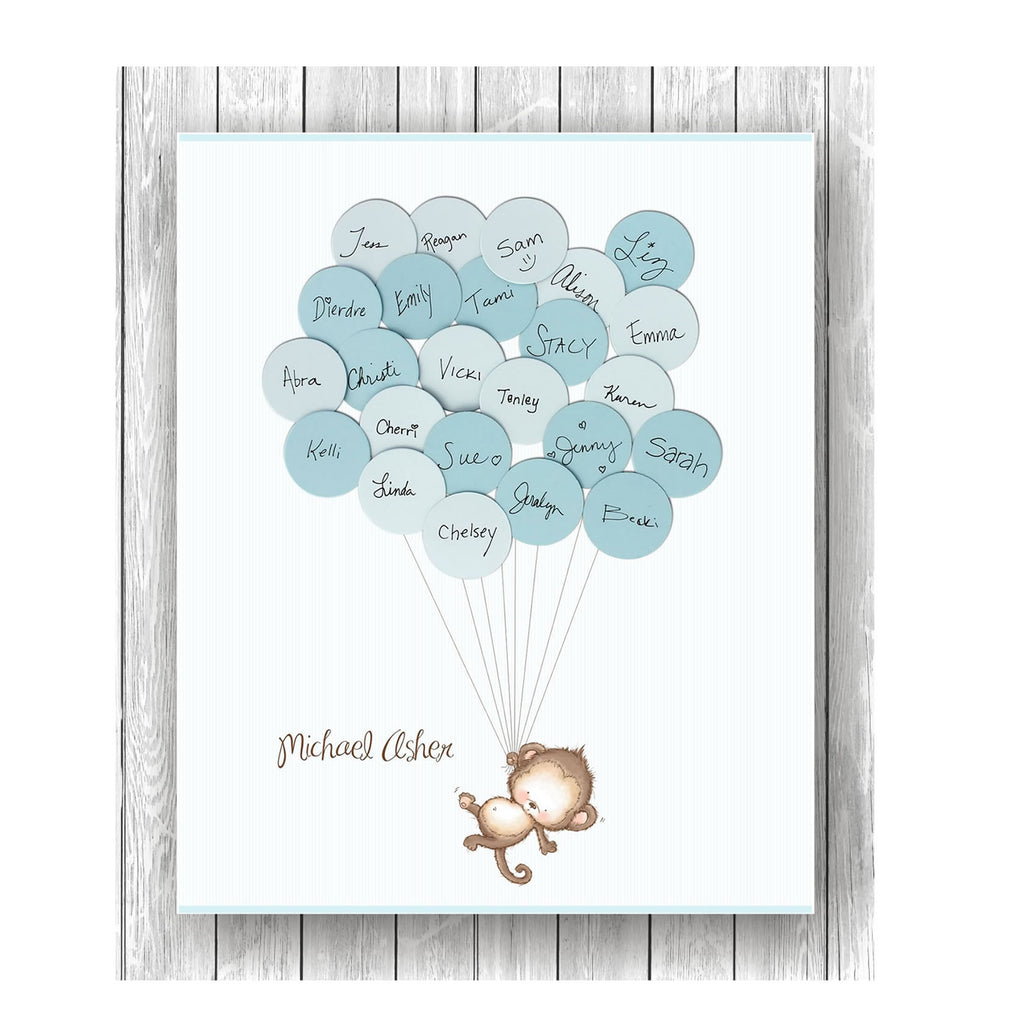 Monkey theme baby shower guest book print - No tutu