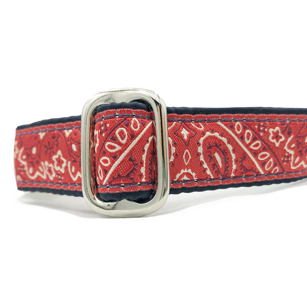 "1"" Satin-Lined Red Bandana Tag Collar"