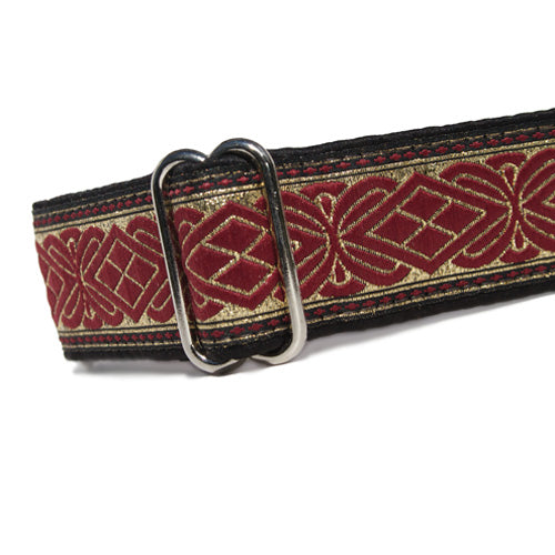 "1.5"" wide satin-lined black, burgundy, and metallic gold buckle dog collar by Classic Hound Collar Co."