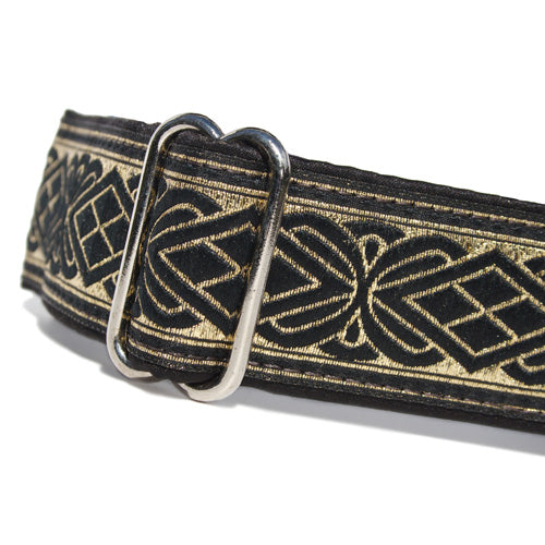 "1.5"" wide satin-lined black and metallic gold buckle dog collar by Classic Hound Collar Co."