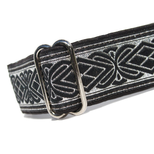 "1.5"" wide satin-lined black and metallic silver buckle dog collar by Classic Hound Collar Co."