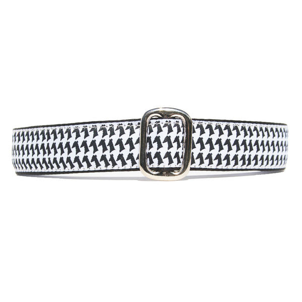 Black and White Houndstooth Sighthound Dog Collar