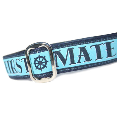 Blue First Mate Nautical Dog Collar Slant