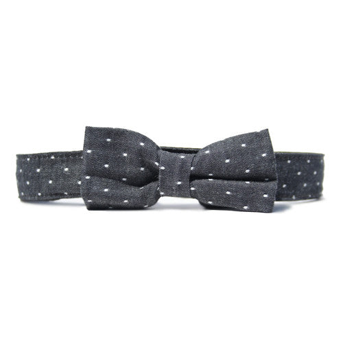 Collar Bow Tie Set - Chambray Dot