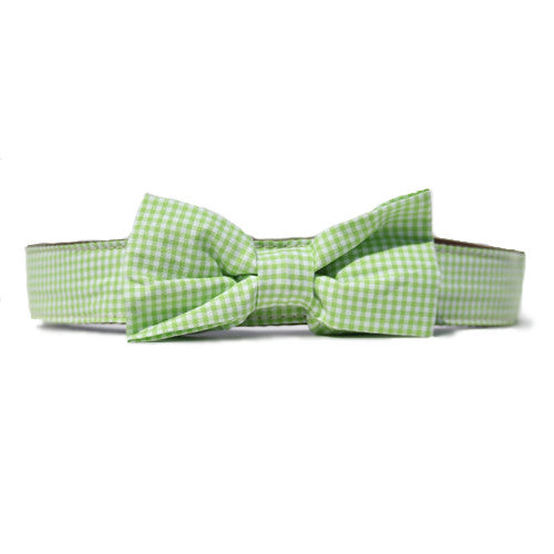 Collar Bow Tie Set - Gingham Green