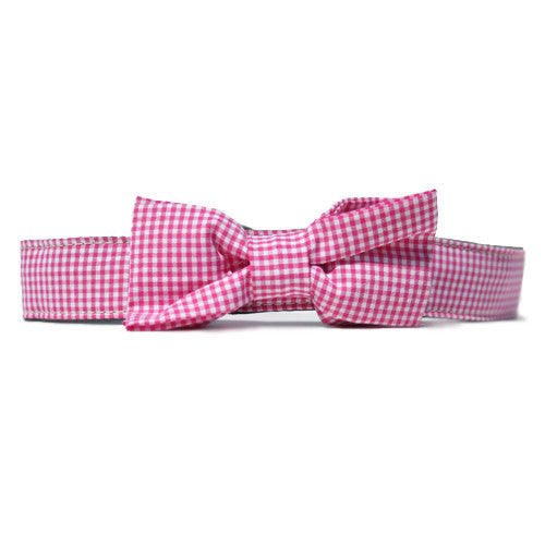 Collar Bow Tie Set - Gingham Pink