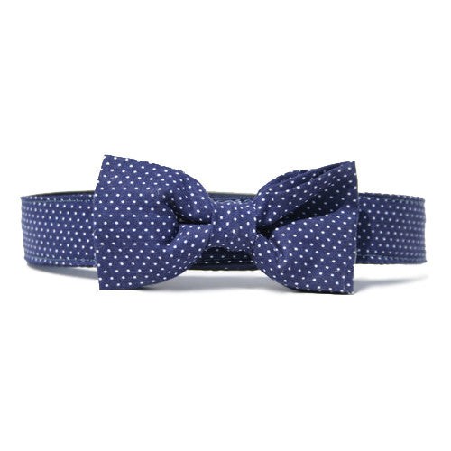 Collar Bow Tie Set - Pin Dot Navy