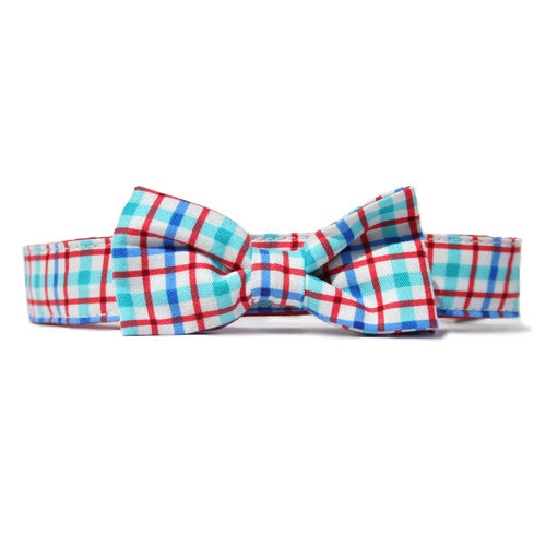 Collar Bow Tie Set - Plaid Blue+ Red