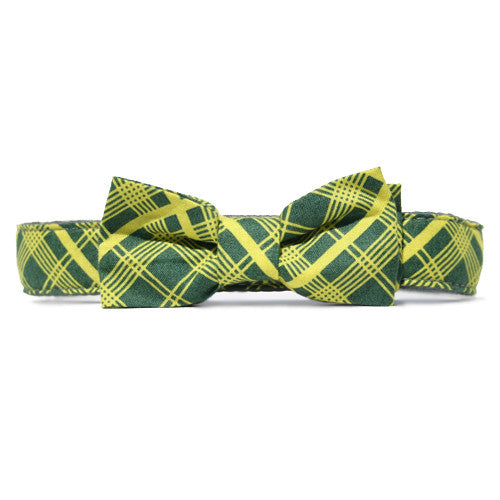 Collar Bow Tie Set - Tartan Lime