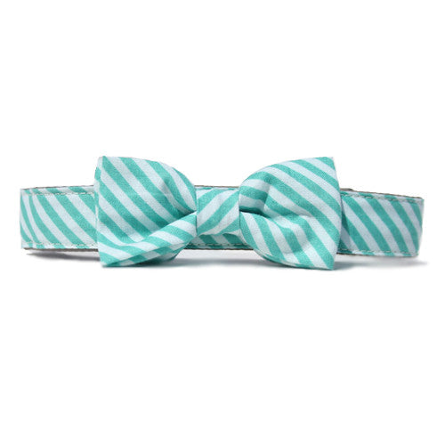 Collar Bow Tie Set - Turquoise Stripes