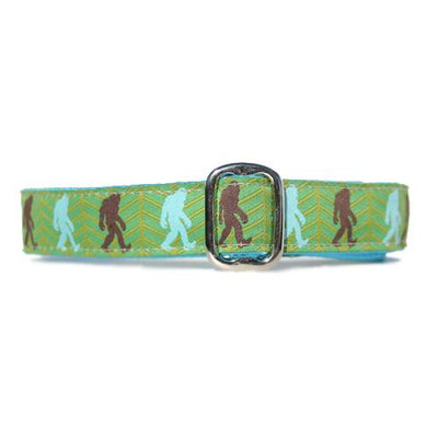 Brown and Turquoise Bigfoot Sasquatch over Green Background Dog Collar