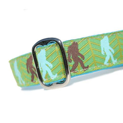 Brown and Turquoise Bigfoot Sasquatch over Green Background Dog Collar Slanted