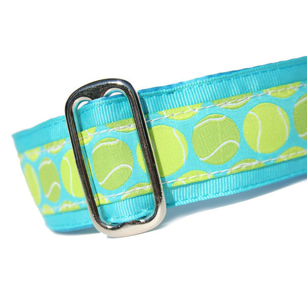 "1.5"" wide satin-lined blue tennis ball buckle dog collar by Classic Hound Collar Co."