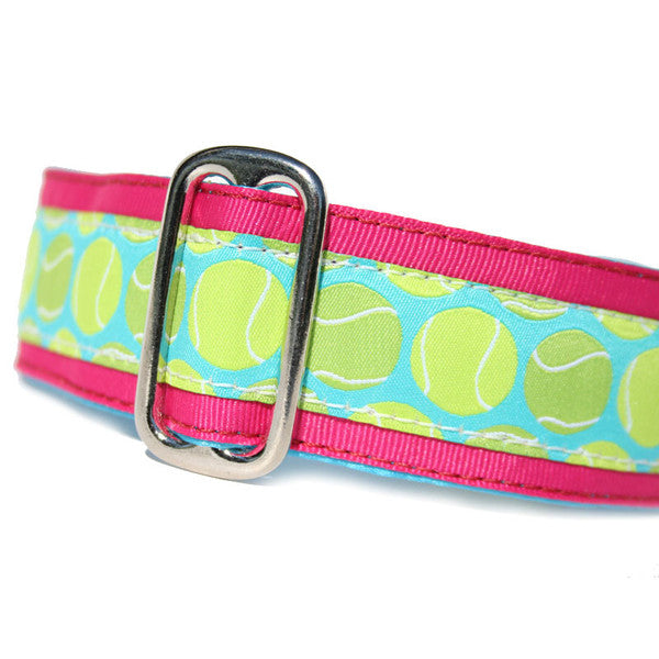 "1.5"" wide satin-lined pink tennis ball buckle dog collar by Classic Hound Collar Co."