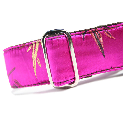 Classic Hound Collar Co. | Bamboo Brocade Fuchsia Buckle Collar