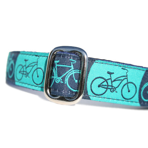 "1"" wide satin-lined blue bicycle martingale dog collar by Classic Hound Collar Co."