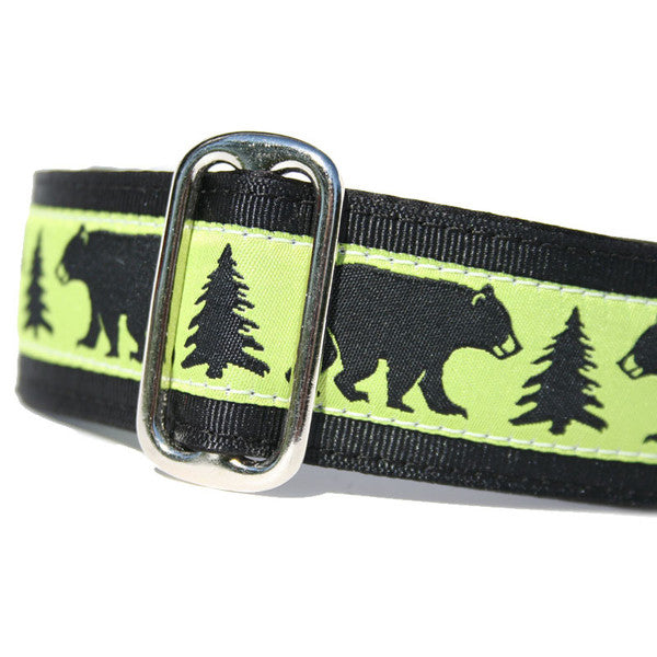 "1.5"" wide satin-lined buckle dog collar black bears and green by Classic Hound Collar Co."