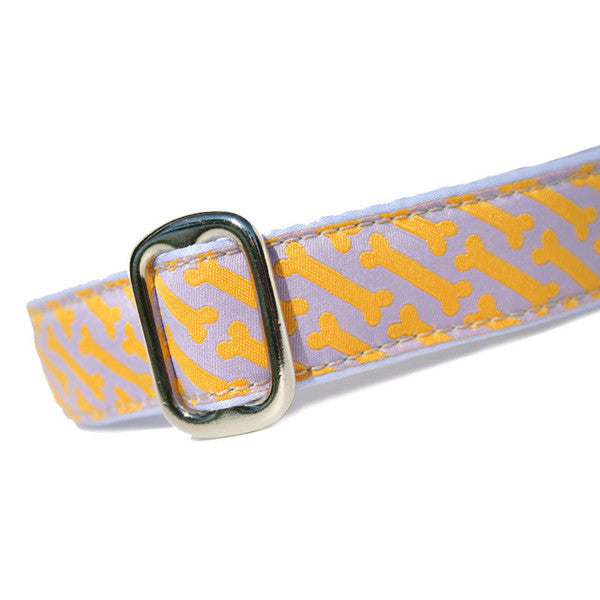 "1"" wide satin-lined orange bones on purple martingale dog collar by Classic Hound Collar Co."