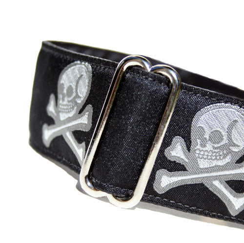 "1.5"" wide satin-lined black halloween pirate skull buckle dog collar by Classic Hound Collar Co."
