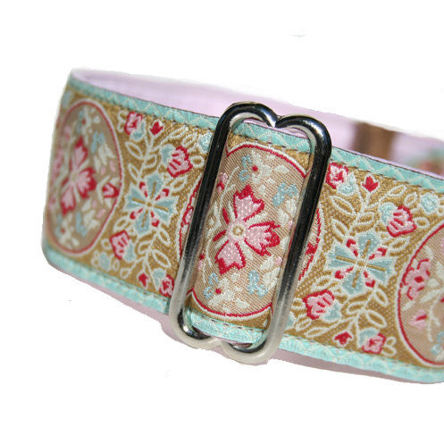"1.5"" wide satin-lined vintage floral buckle dog collar by Classic Hound Collar Co."