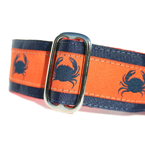 "1.5"" wide satin-lined orange crab buckle dog collar blue bicycles by Classic Hound Collar Co."
