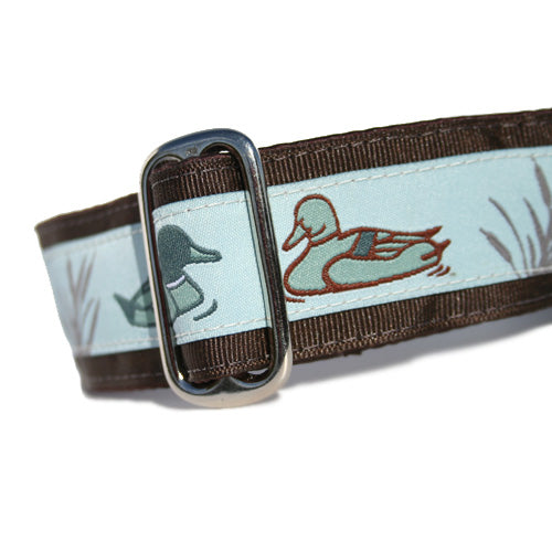 "1.5"" wide satin-lined duck hunter buckle dog collar by Classic Hound Collar Co."