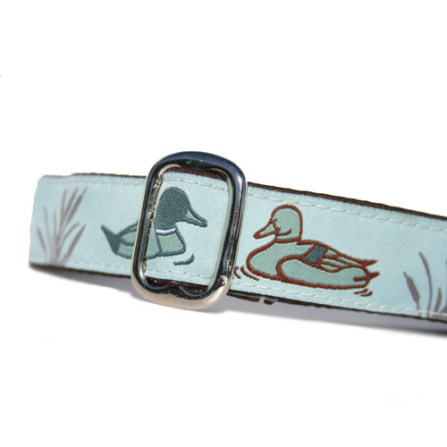 "1"" wide satin-lined martingale dog collar ducks by Classic Hound Collar Co."