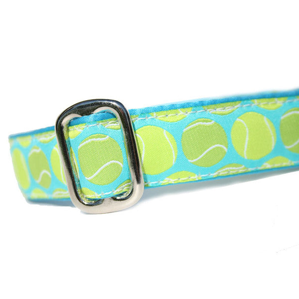 "1"" wide satin-lined tennis ball buckle dog collar by Classic Hound Collar Co."