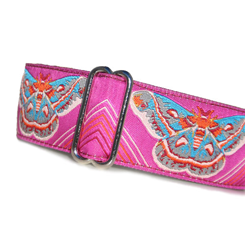 "1.5"" wide satin-lined pink blue butterfly moth anna maria horner  buckle dog collar by Classic Hound Collar Co."