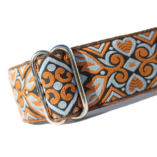 "1.5"" wide satin-lined orange and blue heart art deco buckle dog collar by Classic Hound Collar Co."