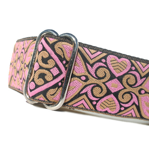 "1.5"" wide satin-lined black and pink heart art deco buckle dog collar by Classic Hound Collar Co."