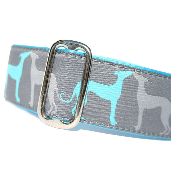"1.5"" wide satin-lined blue sighthound love nautical buckle dog collar by Classic Hound Collar Co."