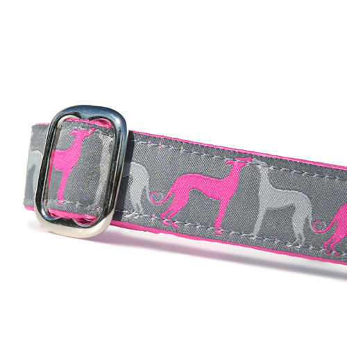"1"" wide satin-lined pink sighthound love buckle dog collar by Classic Hound Collar Co."
