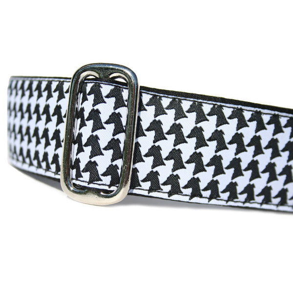 "1.5"" wide satin-lined black and white houndstooth buckle dog collar by Classic Hound Collar Co."