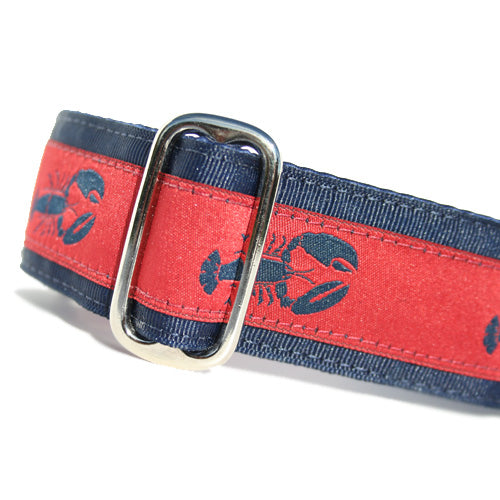 "1.5"" wide satin-lined red and blue lobster nautical buckle dog collar by Classic Hound Collar Co."