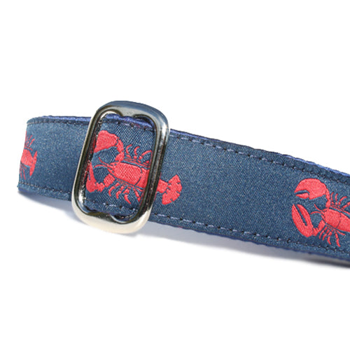 "1"" wide satin-lined blue nautical lobster martingale dog collar by Classic Hound Collar Co."