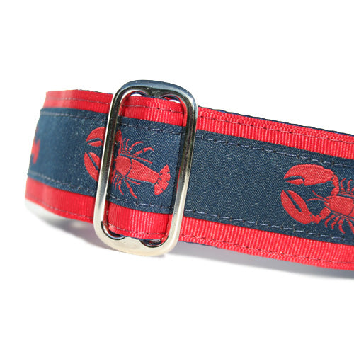 "1.5"" wide satin-lined red lobster nautical buckle dog collar by Classic Hound Collar Co."