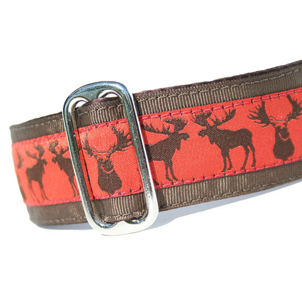 "1.5"" wide satin-lined brown moose buckle dog collar by Classic Hound Collar Co."