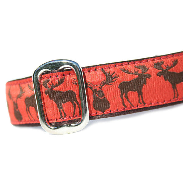 "1"" wide satin-lined moose buckle dog collar by Classic Hound Collar Co."