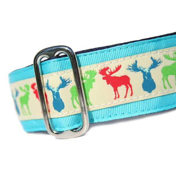 "1.5"" wide satin-lined multi moose buckle dog collar by Classic Hound Collar Co."