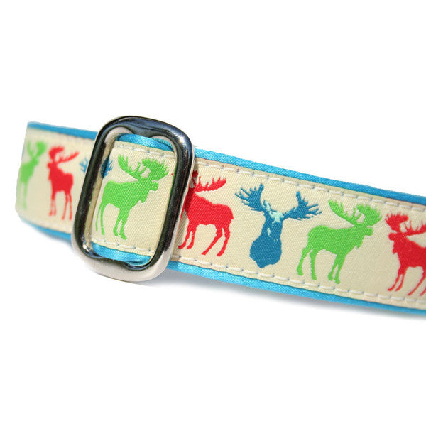 "1"" wide satin-lined multi-color moose buckle dog collar by Classic Hound Collar Co."