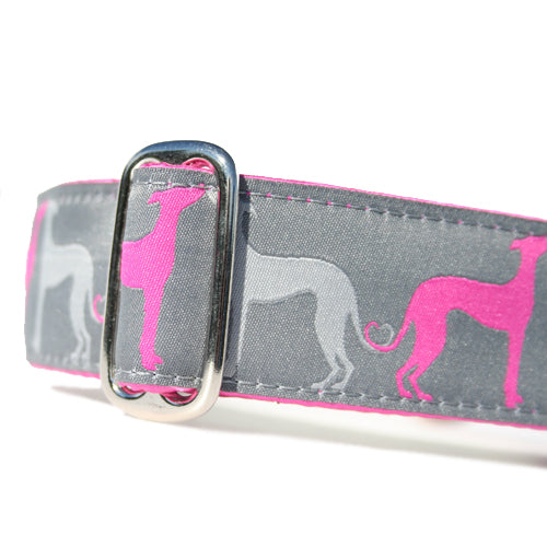 "1.5"" wide satin-lined pink sighthound love buckle dog collar by Classic Hound Collar Co."