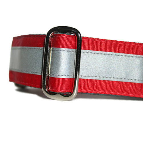 Reflective Cherry Red ID Tag Collar