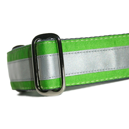 Reflective Lime Green ID Tag Collar
