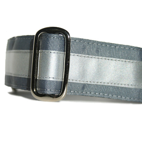 Reflective Steel Grey ID Tag Collar