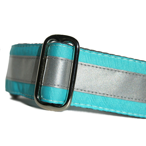 Reflective Turquoise Blue ID Tag Collar