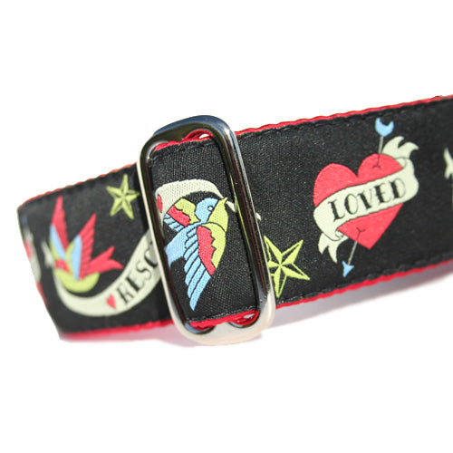 "1.5"" wide satin-lined black tattoo style rescue buckle dog collar by Classic Hound Collar Co."
