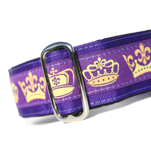 "1.5"" wide satin-lined purple crown royalty buckle dog collar by Classic Hound Collar Co."