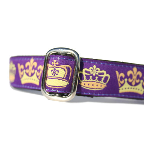 "1"" wide satin-lined purple royal crown buckle dog collar by Classic Hound Collar Co."