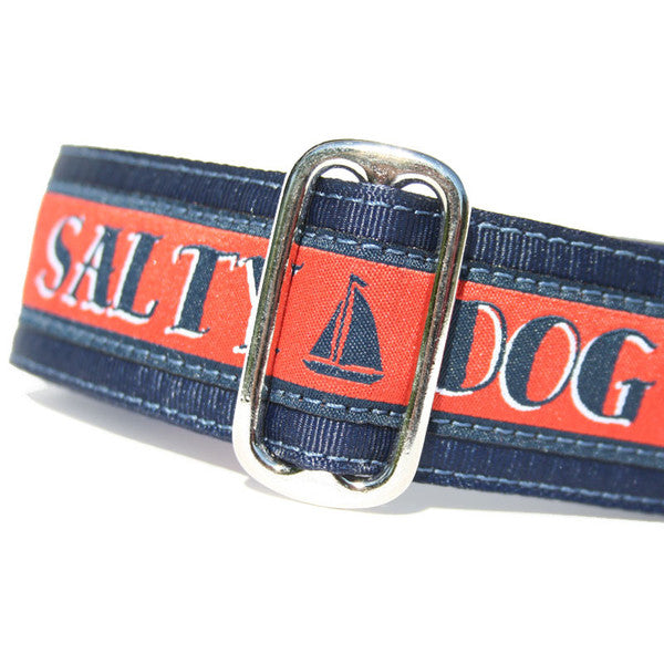 "1.5"" wide satin-lined navy and red salty dog nautical buckle dog collar by Classic Hound Collar Co."